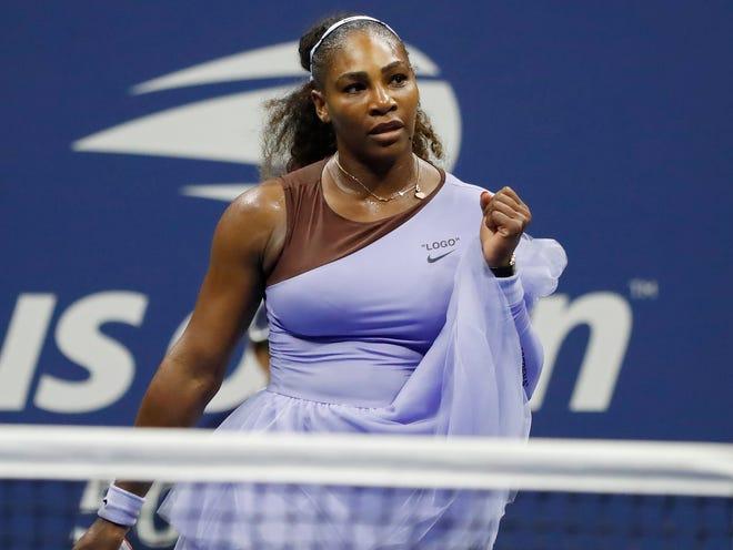 Serena Williams celebrates after match point against Anastasija Sevastova.