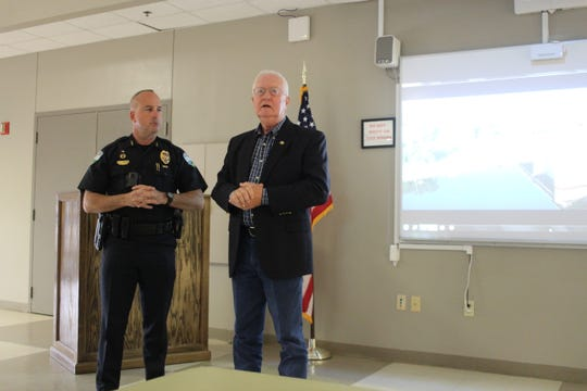 Alexandria Police Department Chief Jerrod King and Rapides Sheriff William Earl Hilton talk about recruiting issues faces their departments and others during a press conference on Friday.