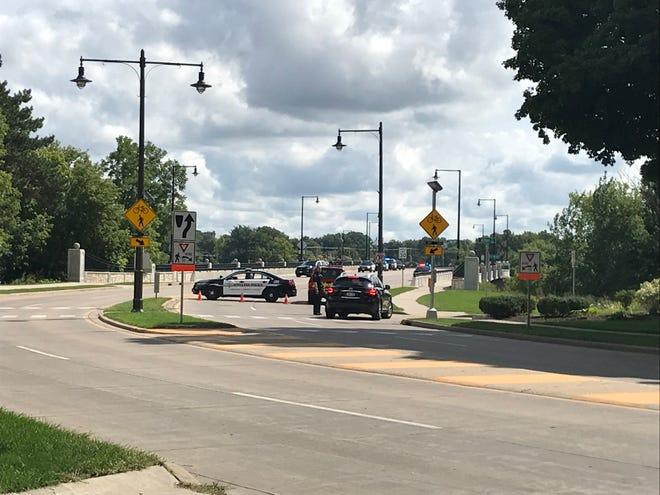 College Avenue bridge shut down by first responders for welfare check.