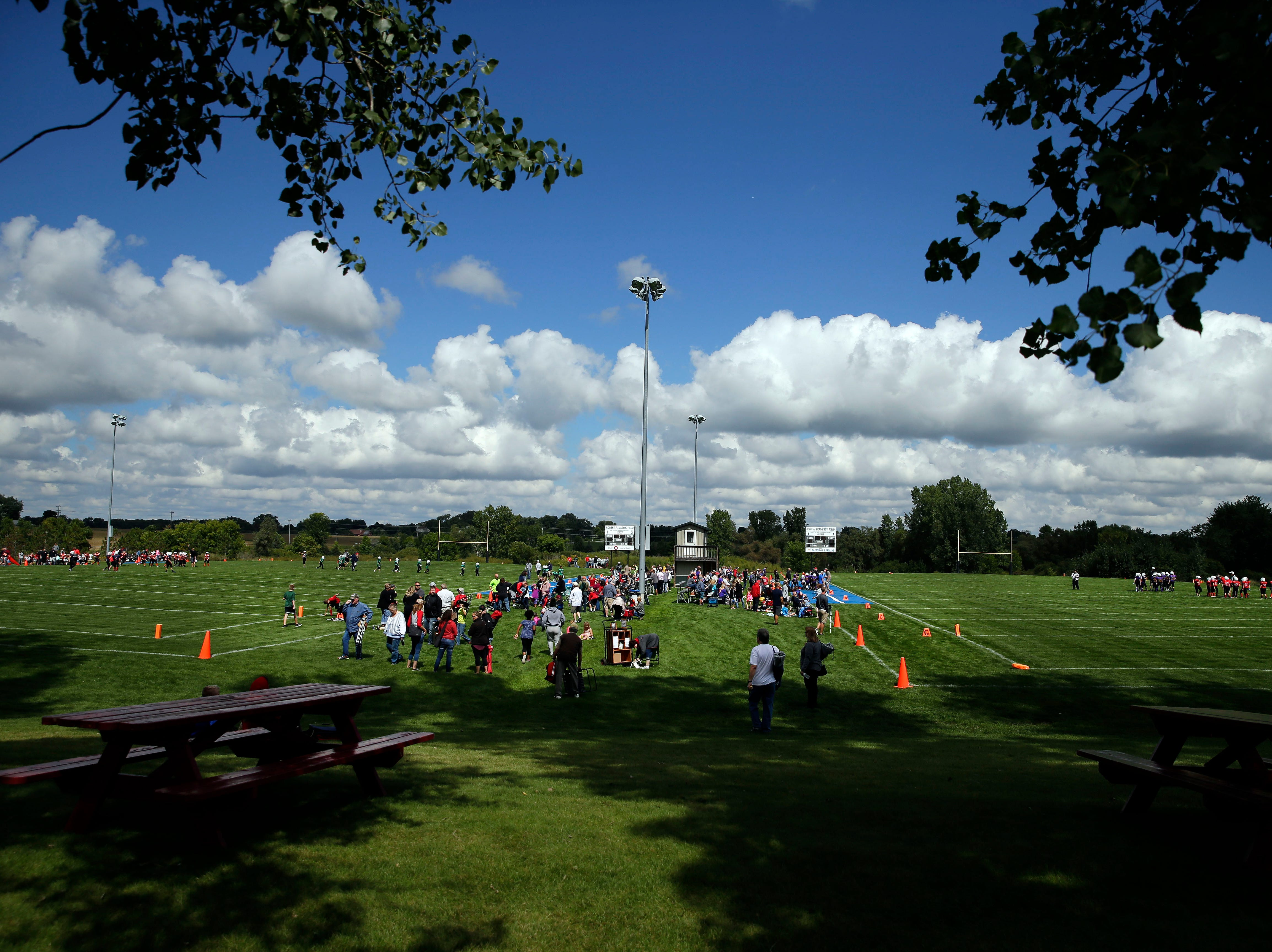 Fox Valley Pop Warner Football opens the season with cool temperatures Saturday, September 8, 2018, at Plamann Park in Grand Chute, Wis.