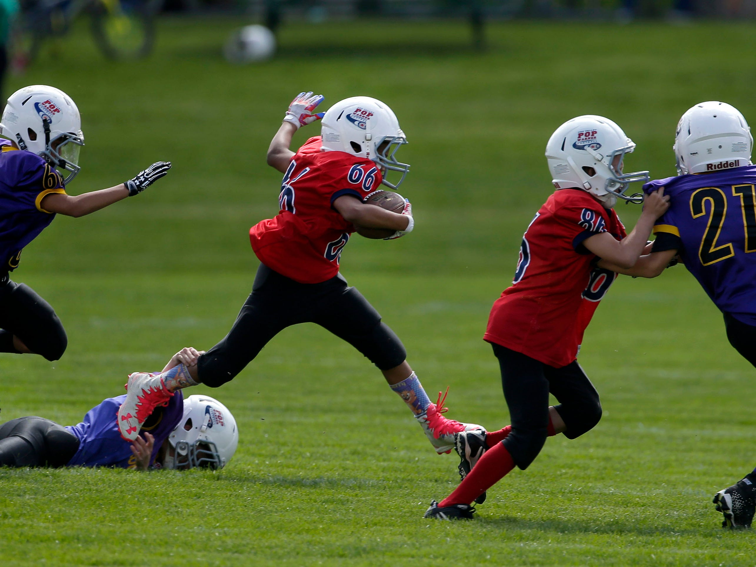 Laythan Hurst carries the ball for the Ghosts against the Cougars as Fox Valley Pop Warner Football opens the season Saturday, September 8, 2018, at Plamann Park in Grand Chute, Wis.Ron Page/USA TODAY NETWORK-Wisconsin