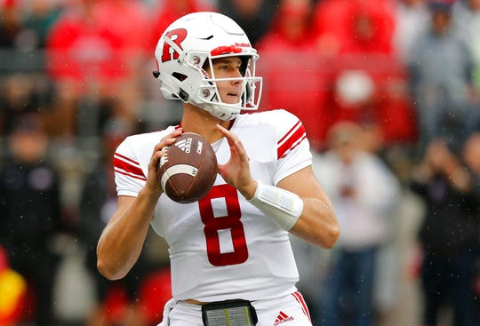 Rutgers quarterback Artur Sitkowski drops back to pass against Ohio State during the first half of an NCAA college football game Saturday, Sept. 8, 2018, in Columbus, Ohio. (AP Photo/Jay LaPrete)