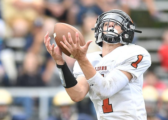 Middletown North's Rob Higgins pulls in a pass in the 3rd quarter as Freehold Borough defeats Middletown North 22-20 on 9/8/2018