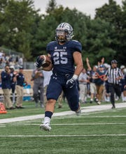 Monmouth running back Pete Guerriero scored three touchdowns in the Hawks' victory over Hampton on Saturday