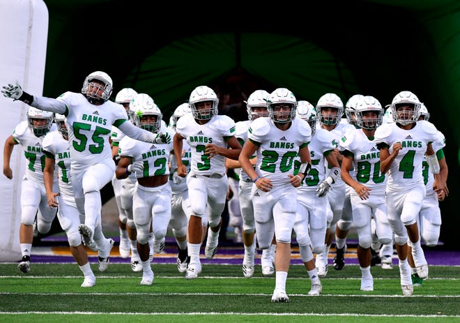 The Bangs High School Dragons take the field Friday Sept. 7, 2018 for their game against Hawley High School at Hardin-Simmons University. Final score was 69-32, Hawley.