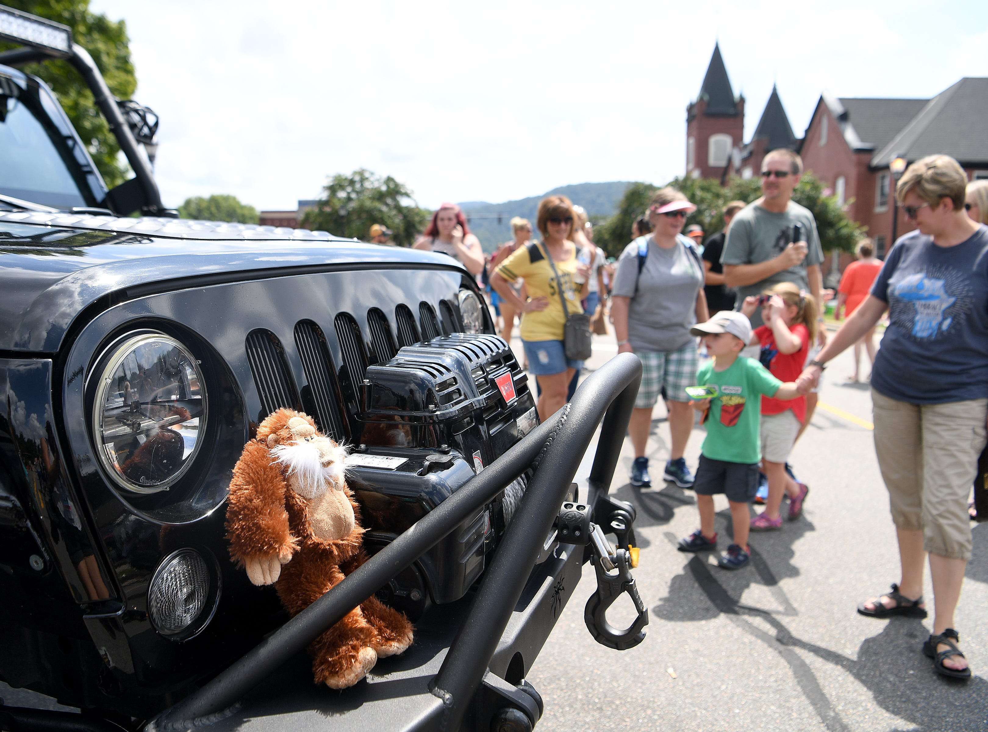 A sasquatch hunting Jeep was on display with classic cars during the first ever WNC Bigfoot Festival in Marion on Sept. 8, 2018.