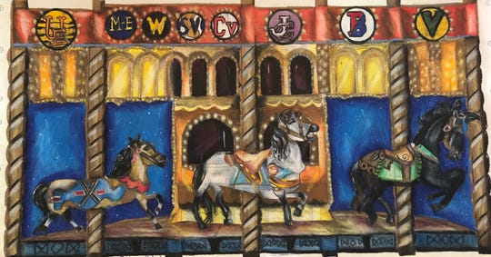 "Johnson City Central School District seventh-grader Molly Jablonowski, 12, created ""Broome County Carousel: Riding for Public Education"" for the LUMA Projection Arts Festival's ""Mural Moments."""