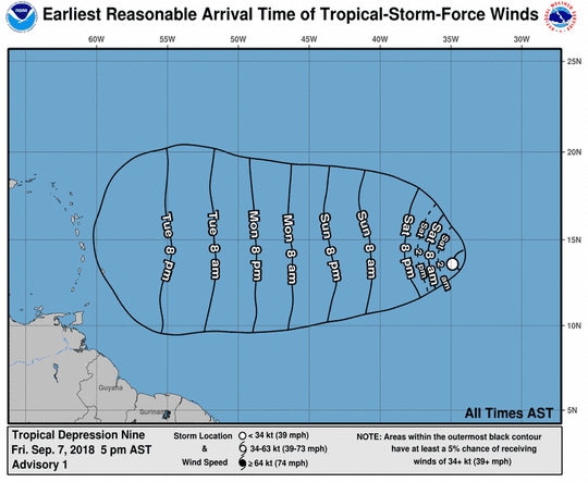 Tropical Depression 9 wind forecast