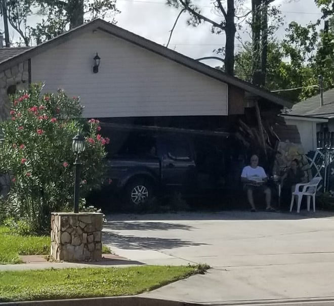 A photo from the scene of a crash in Port St. John where a pickup truck lost control and smashed into a home in the 4000 block of Fay Boulevard.