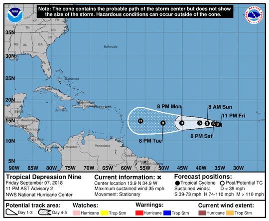 Tropical Depression Nine at 11 p.m. Friday
