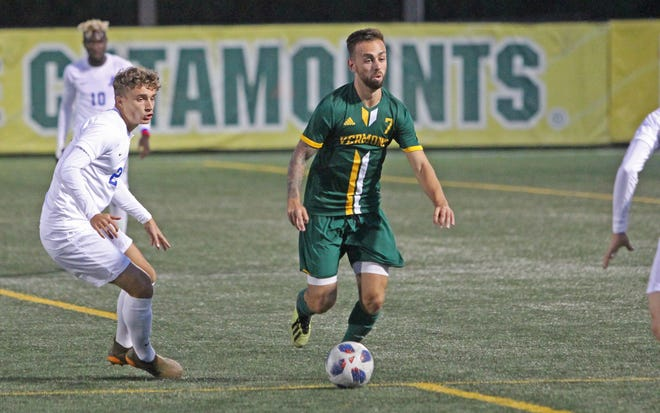 University of Vermont forward Justin Freitas attacks the Fairleigh Dickinson defense during Friday night's game at Virtue Field on Sept. 7, 2018. Freitas had two goals in the 4-0 UVM win.