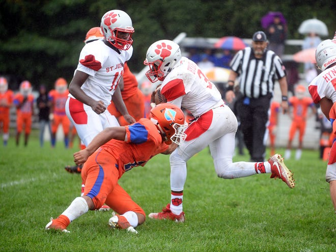 St. Joeseph RB, Jada Byers (3) runs the ball for a gain against Millville. The Wildcats rolled past the Thunderbolts 34-6 in Hammonton on Saturday, September 8.
