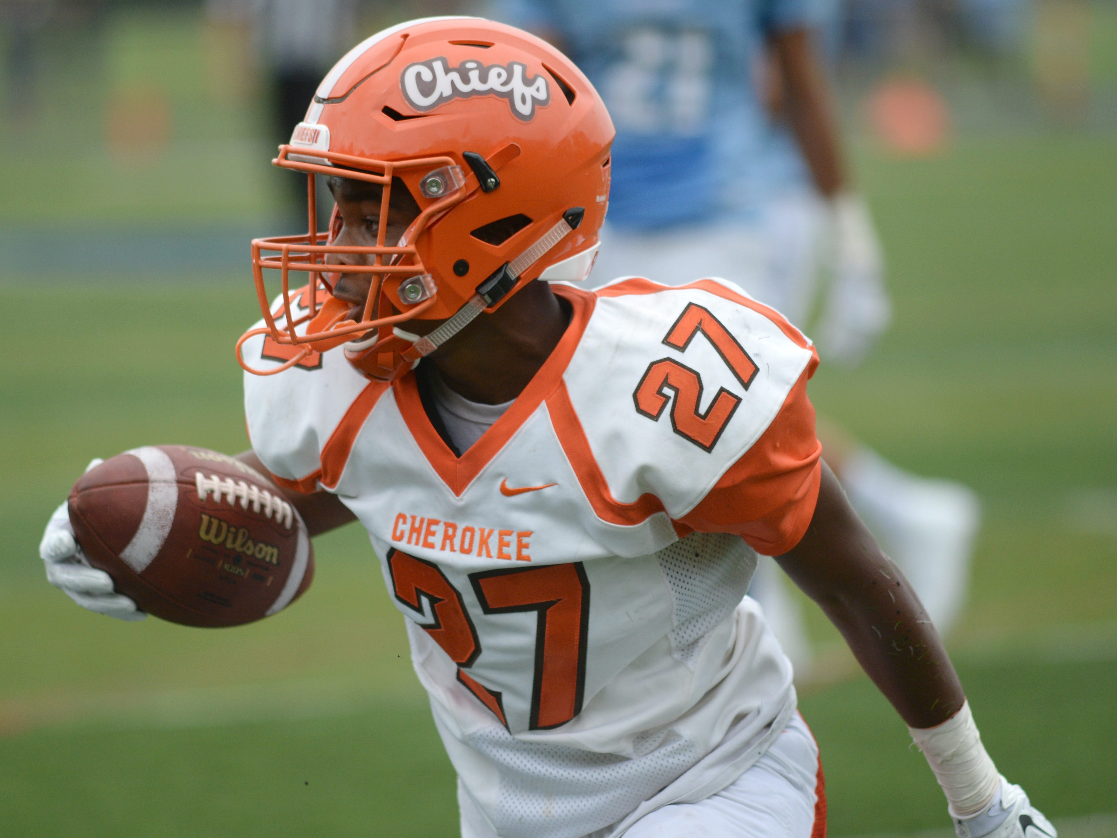 Cherokee's Darnell Hightower celebrates after catching a touchdown pass during Saturday's football game against Shawnee at Shawnee High School,  Sept. 8, 2018.