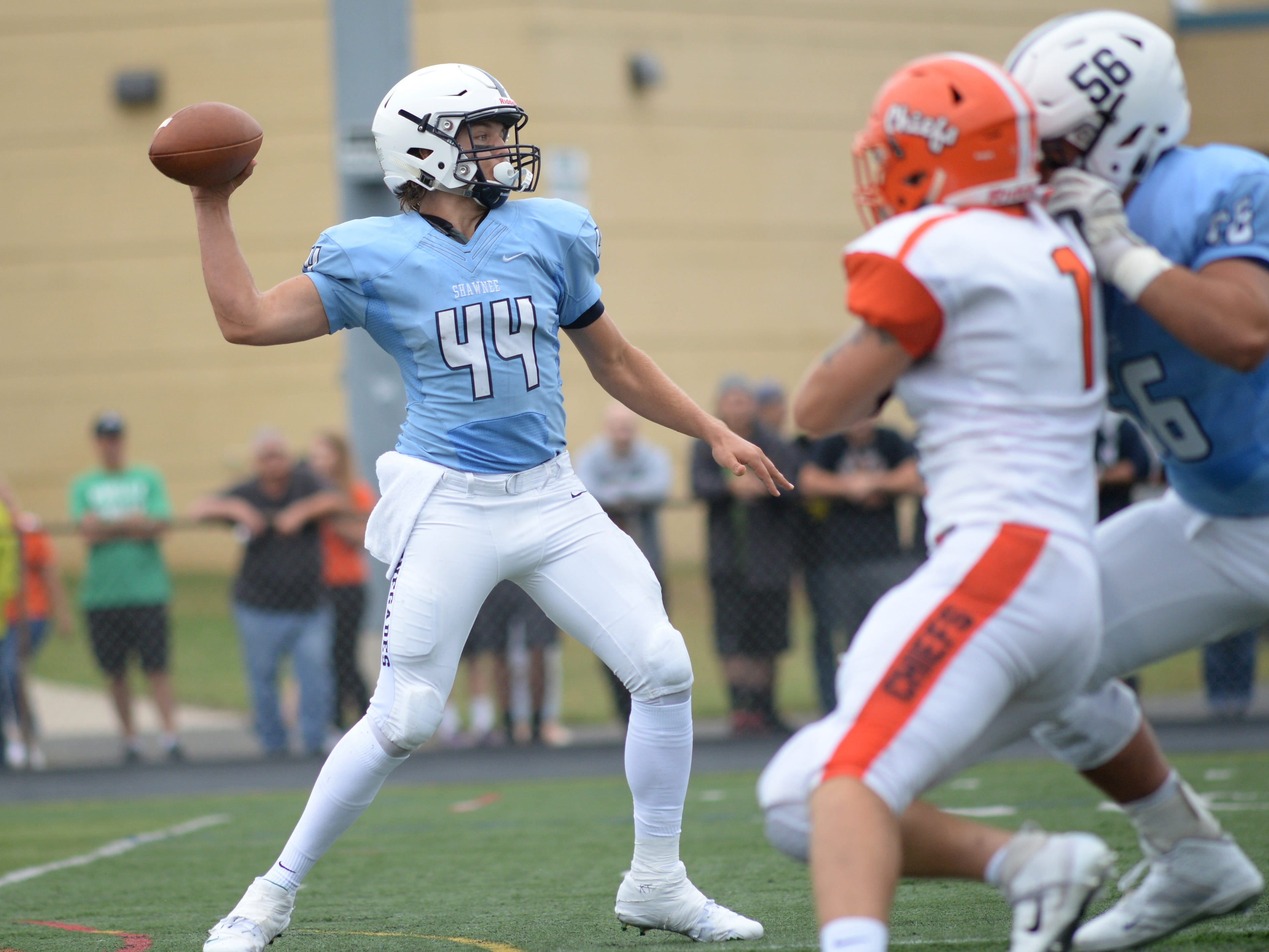 Shawnee's quarterback Joe Dalsey throws a pass during Saturday's football game against Cherokee at Shawnee High School,  Sept. 8, 2018.