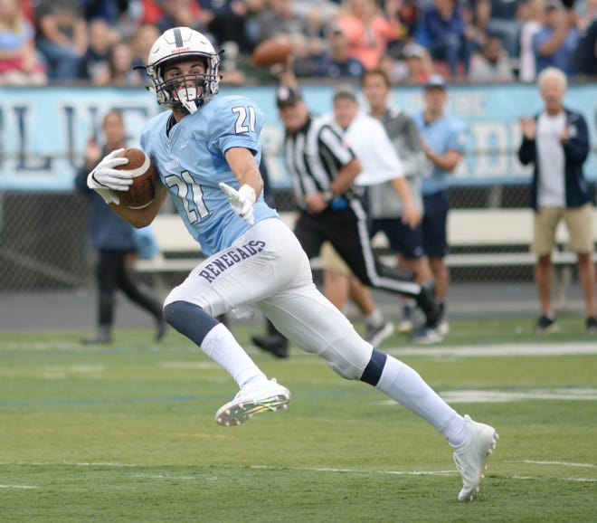 Shawnee's Jon Searcy runs for a touchdown in a season-opening win over Cherokee. The Renegades face St. Augustine this Friday in one of the week's biggest games.