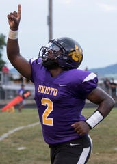 Unioto's Jamarcus Carroll celebrates in a game against Waverly in 2018. Carroll's play was making headlines for the first half of the 2018 season, then it all came to a halt when he suffered a season-ending injury against Paint Valley in week six.