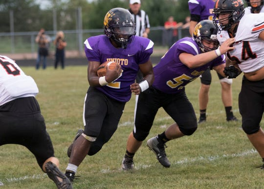 Jamarcus Carroll runs in the ball in a game against Waverly in 2018. Carroll's play was making headlines for the first half of the 2018 season, then it all came to a halt when he suffered a season-ending injury against Paint Valley in week six.