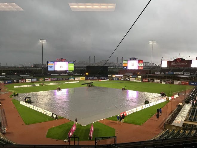 The field at Louisville Slugger Field is covered prior to the start of a match between FC Cincinnati and Louisville City FC.