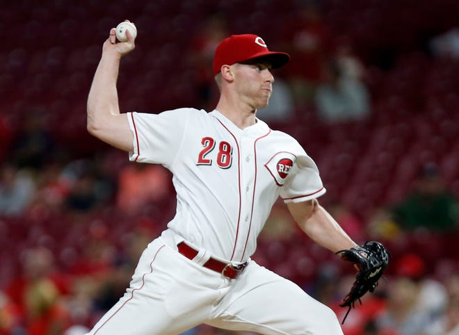 Sep 7, 2018; Cincinnati, OH, USA; Cincinnati Reds starting pitcher Anthony DeSclafani (28) throws against the San Diego Padres in the first inning at Great American Ball Park. Mandatory Credit: David Kohl-USA TODAY Sports