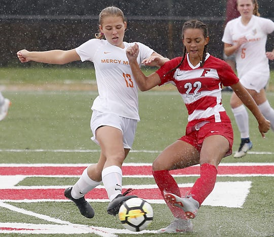 Mercy McAuley defender Alise Schindler and Fairfield midfielder Alexis Goins battle for possession during their game at Christy Dennis Memorial Soccer Stadium in Fairfield Saturday, Sept. 8, 2018.