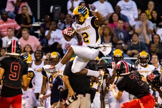 Fred Orr (2) of Northeast jumps as he takes the ball down field during the first half at Rossview Friday, Sept. 7, 2018, in Clarksville, Tenn.
