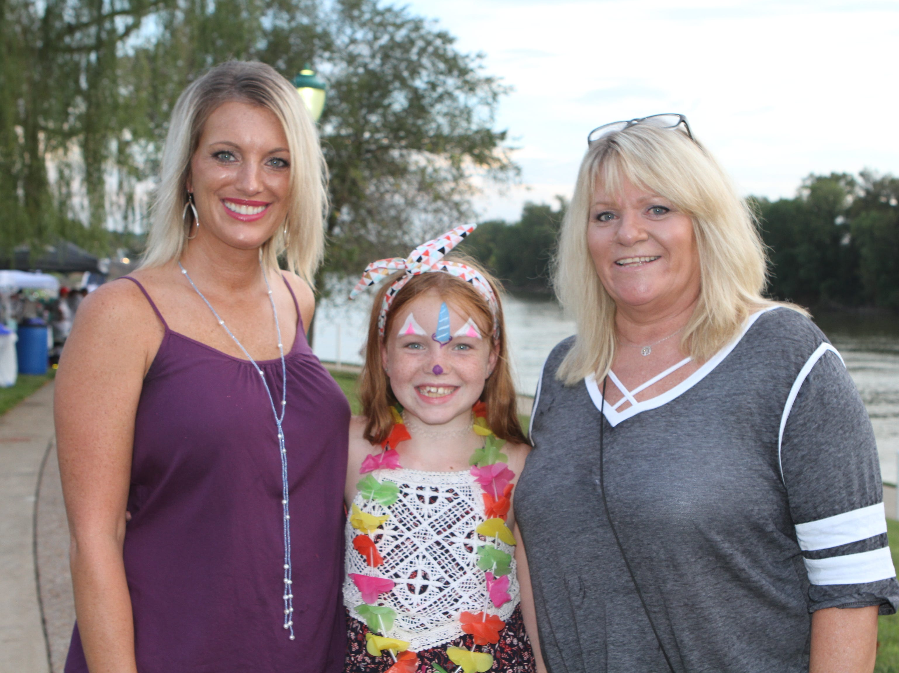 Melanie and Kadence Burns and Renate Bassim at Clarksville Riverfest on Friday night, Sept. 7, 2018.