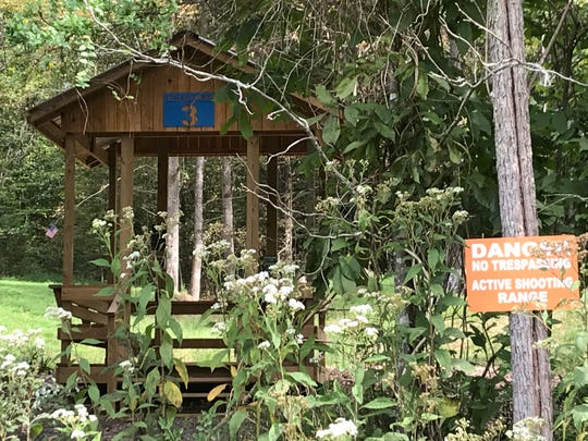 A shooting stand at Cross Creek Clays within sight of the property line.