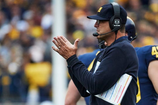 Michigan Wolverines head coach Jim Harbaugh reacts on the sideline in the first half against the Western Michigan Broncos at Michigan Stadium on Sept. 8, 2018, in Ann Arbor.