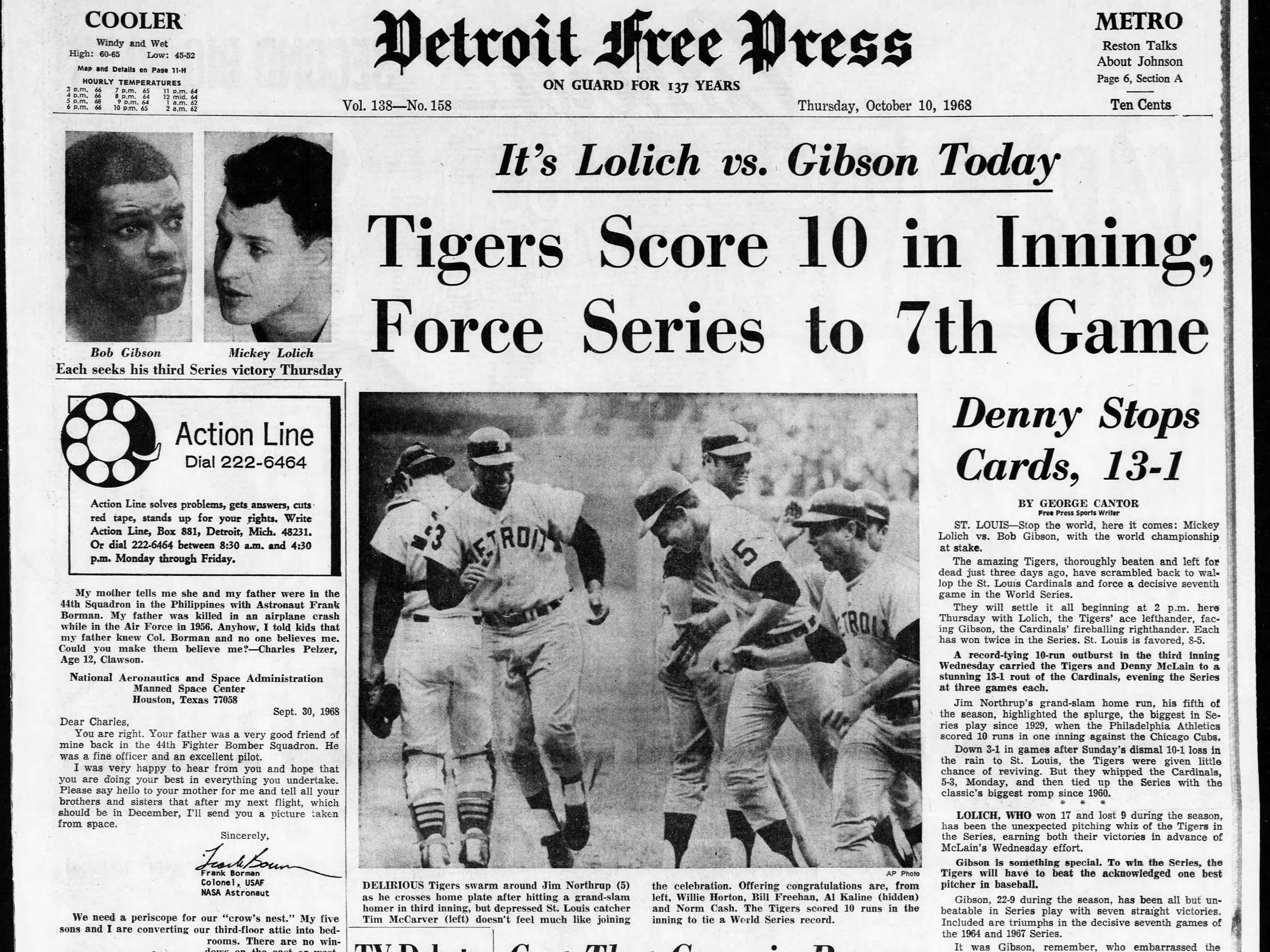 Page 1 of the Detroit Free Press dated Thursday, Oct. 10, 1968. The day before, the Detroit Tigers won Game 6 in their World Series bid against the St. Louis Cardinals to force  game seven.