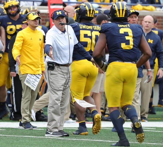 Michigan defensive coordinator Don Brown on the sideline during the second half against Western Michigan, Saturday, Sept. 8, 2018, at Michigan Stadium in Ann Arbor.