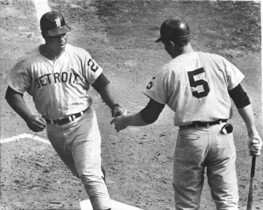 Detroit Tigers' Willie Horton, left, is greeted at the plate by teammate Jim Northrup after hitting a home run into the lower left center seats at Busch Stadium in St. Louis in Game 2 of the World Series, Oct. 3, 1968.