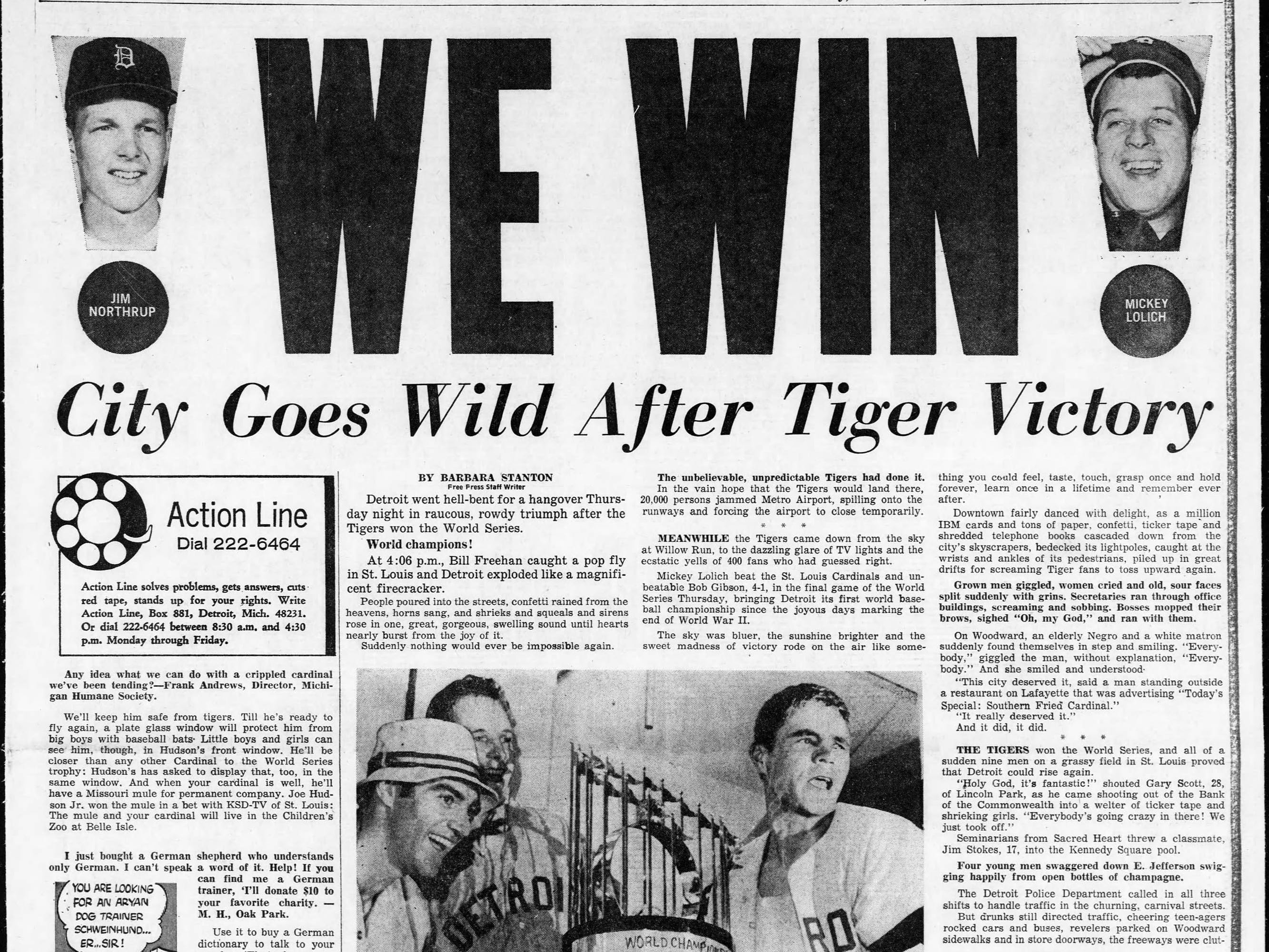 Page 1 of the Detroit Free Press dated Friday, Oct. 11, 1968. The day before, the Detroit Tigers beat the St. Louis Cardinals in seven games to win the World Series.