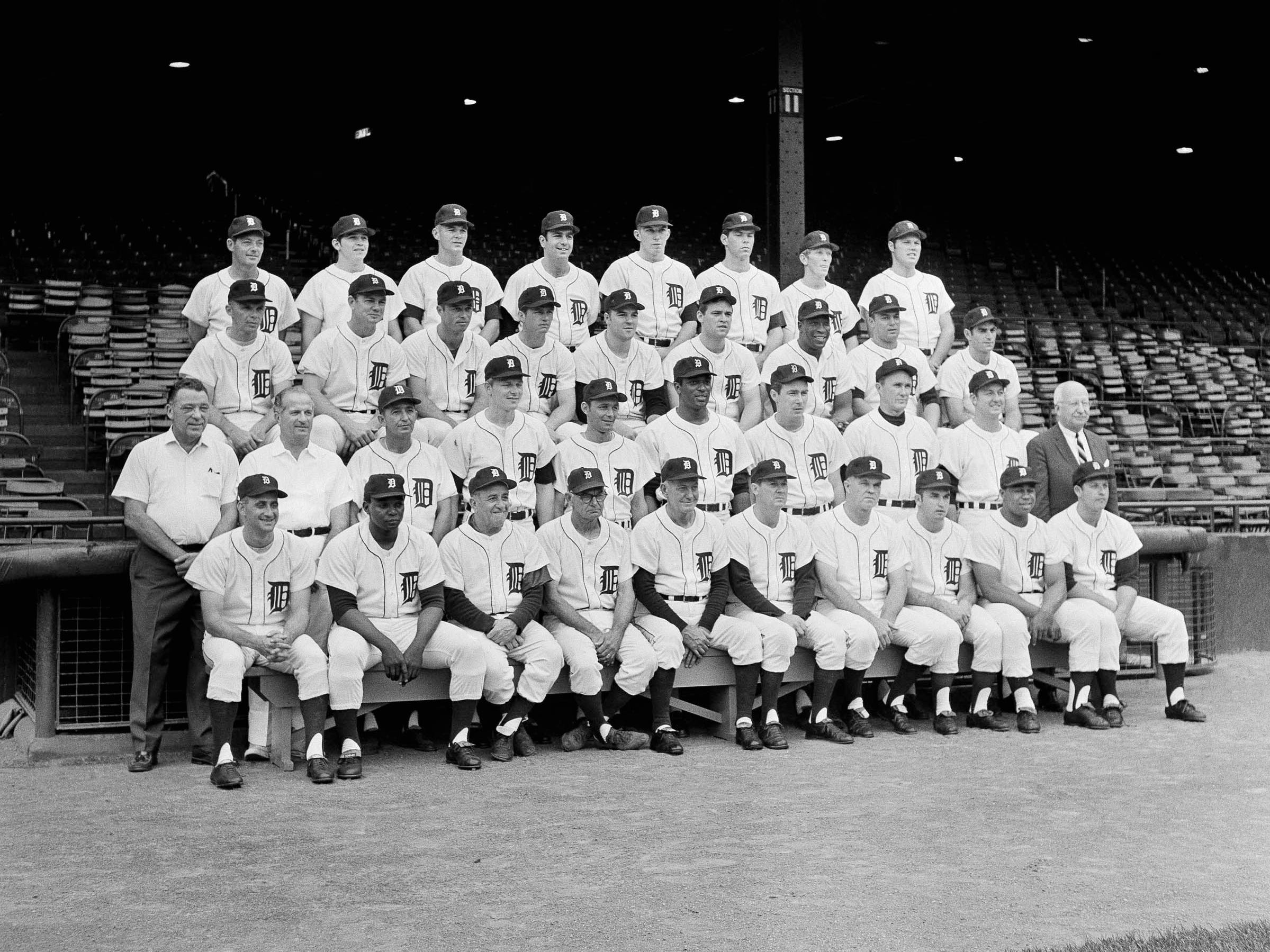 Detroit Tigers team shown in Detroit on Sept. 18, 1968 - the American League Champions and World Series Champions for 1968. Front row from left: Don Wert, John Wyatt, Tony Cuccinello, Wally Moses, Mayo Smith, Hal Naragon, John Sain, Ware Comer, Willie Horton and Mickey Lolich. Second row, from left: John Hand, Bill Behm, Julio Moreno, Jim Northrup, Ray Oyler, Earl Wilson, Fred Lasher, Don McMahon, Al Kaline, secretary Charlie Creedon Third row, from left: Dick Tracewski, Norm Cash; Eddie Nathews, Jim Price, Jon Warden, Denny McLain Gates Brown, John Hiller, Dick McAuliffe. Back row: Elroy Face, Bob Christian, Mickey Stanley, Joe Sparma, Daryl Patterson, Pat Dobson, Tom Matchick, Bill Freehan.