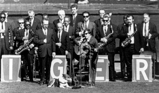 Puerto Rican singer Jose Feliciano and his seeing eye dog, Trudy, sing the National Anthem at the World Series in Detroit in 1968.