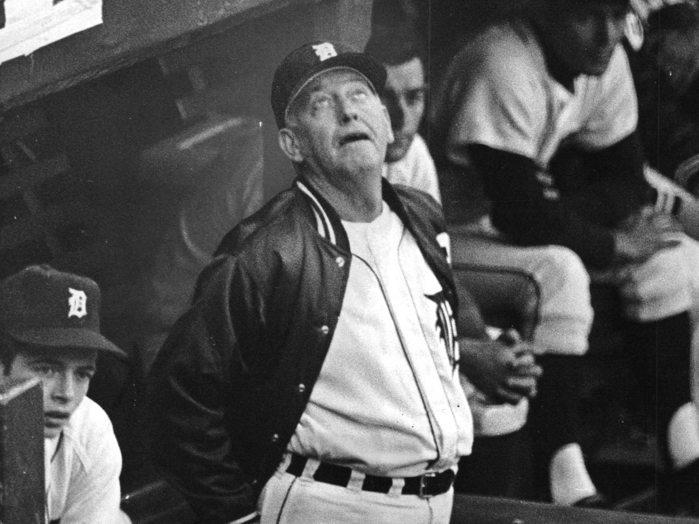 Detroit Tigers Manager Mayo Smith looks like he might be crying a little as his Tigers take a 7-3 whipping from the Cardinals and fall behind in the World Series.