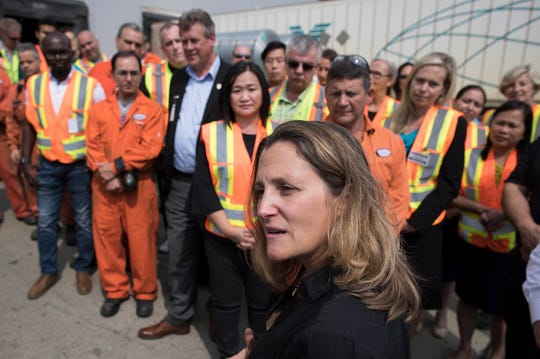 Minister of Foreign Affairs Chrystia Freeland addresses workers after touring Tree Island Steel in  British Columbia, on Friday, Aug. 24, 2018. Tree Island Steel sells its products in the United States.