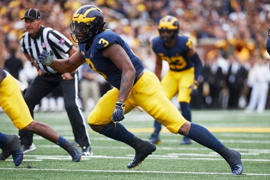 Michigan Wolverines defensive lineman Rashan Gary (3) rushes in the first half against the Western Michigan Broncos at Michigan Stadium on Sept. 8, 2018, in Ann Arbor.