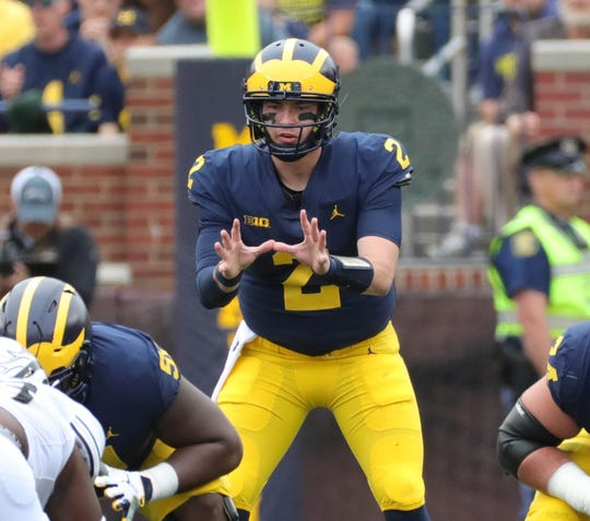 Michigan quarterback Shea Patterson against Western Michigan, Saturday, Sept. 8, 2018, at Michigan Stadium in Ann Arbor.