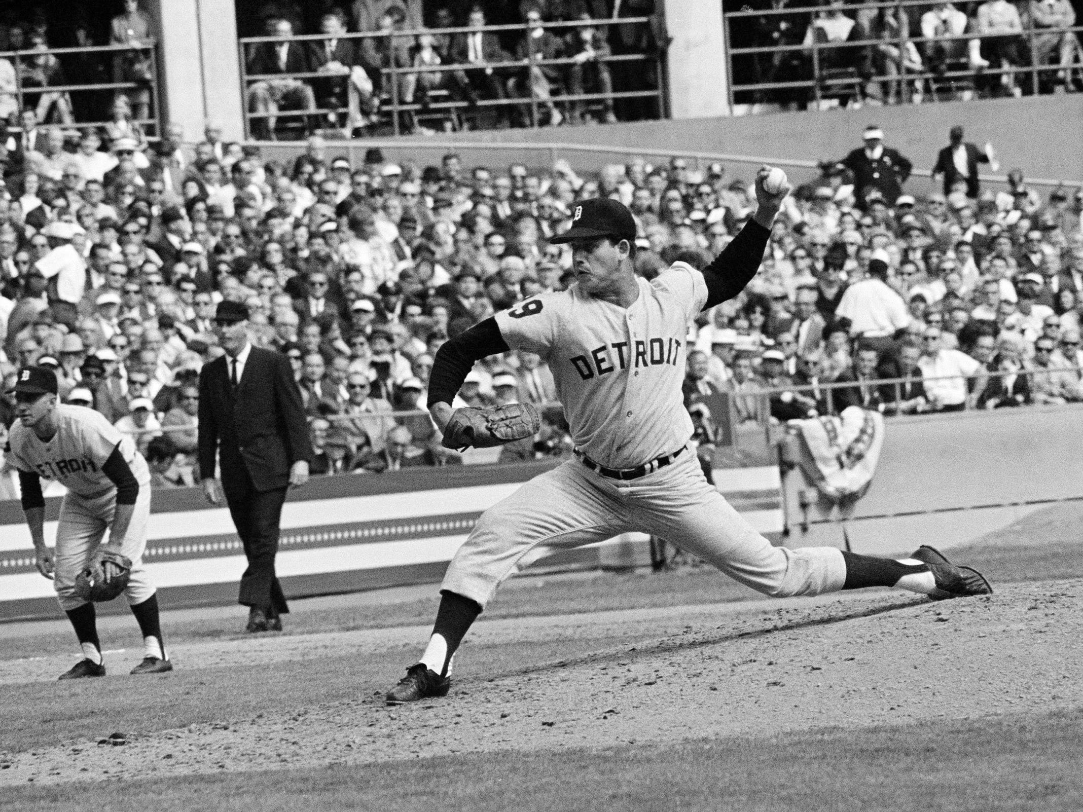 Mickey Lolich of the Detroit Tigers is shown pitching during the second game of the World Series against the St. Louis Cardinals at Busch Stadium in St. Louis, Oct. 3, 1968. Lolich hit the first homer of his career in the third inning.