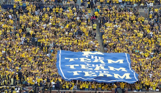 Michigan fans raise a banner during the second half against Western Michigan, Saturday, Sept. 8, 2018, at Michigan Stadium in Ann Arbor.
