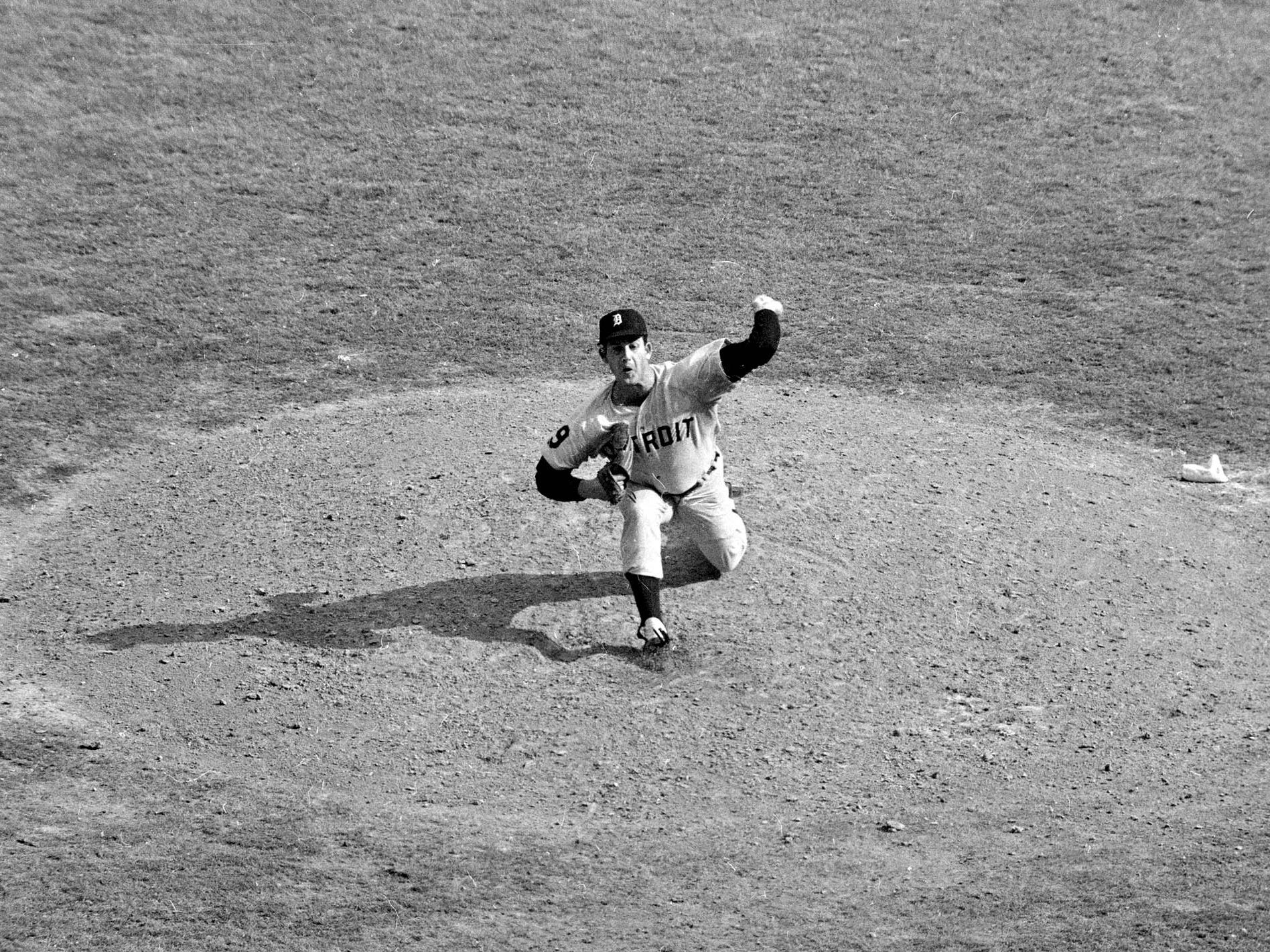Detroit Tigers' Mickey Lolich is shown in action against the St. Louis Cardinals during the final game of the World Series, Oct. 10, 1968, at Busch Memorial Stadium.
