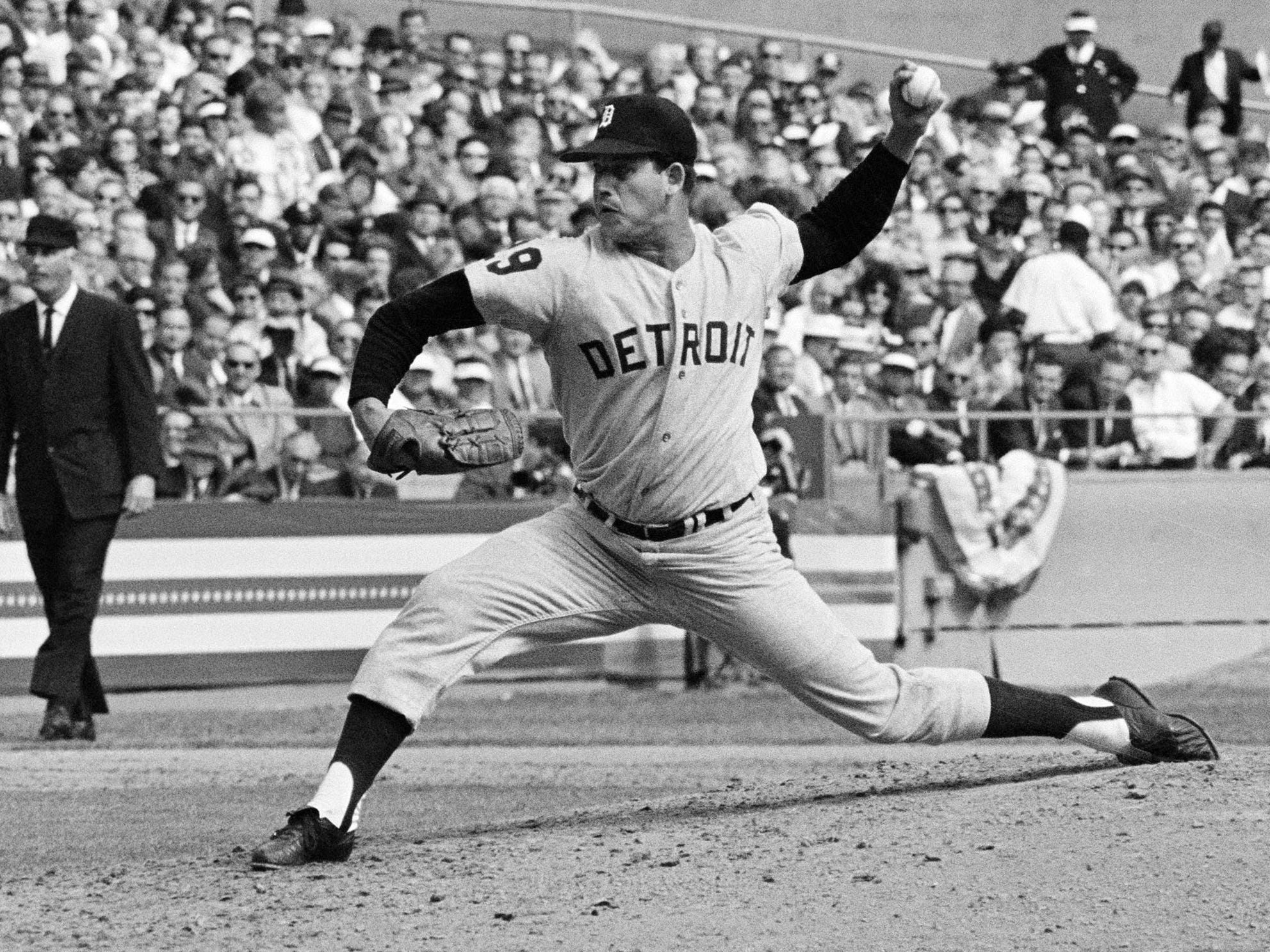 Mickey Lolich of the Detroit Tigers pitching during the second game of the World Series against the St. Louis Cardinals at Busch Stadium in St. Louis on Oct. 3, 1968.