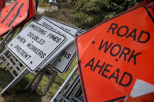 Road work, road signs