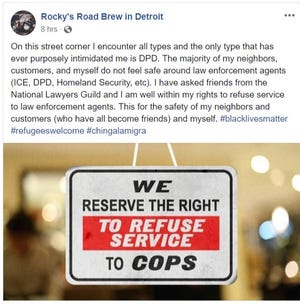 A Facebook post from the Rocky's Road Brew in Detroit account