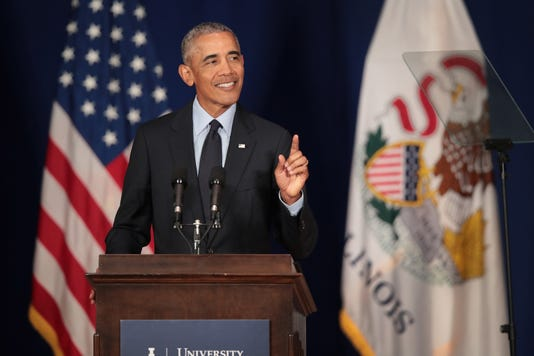 Bestpix Former President Obama Accepts The Paul H Douglas Award For Ethics In Government At The University Of Illinois