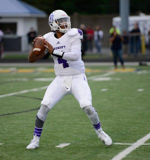 Fremont Ross quarterback Hayden Lehmann established program records with 427 yards passing and six touchdowns at Findlay last season.