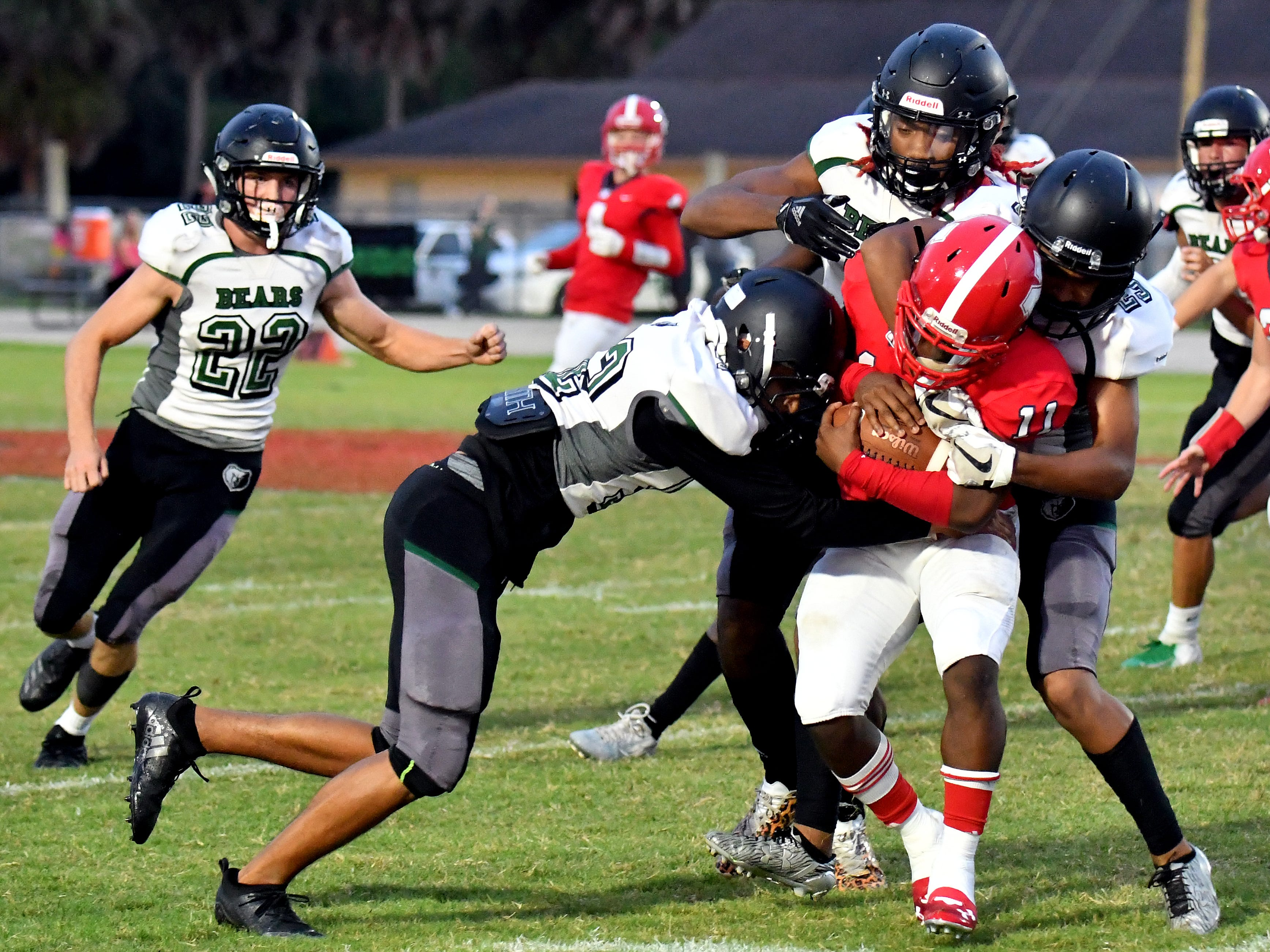 North Fort Myers High School running back Shomari Manson (11) runs the ball during their game with Palmetto Ridge High School, Friday, Sept. 7, 2018. (Chris Tilley/Special to the Naples Daily News)