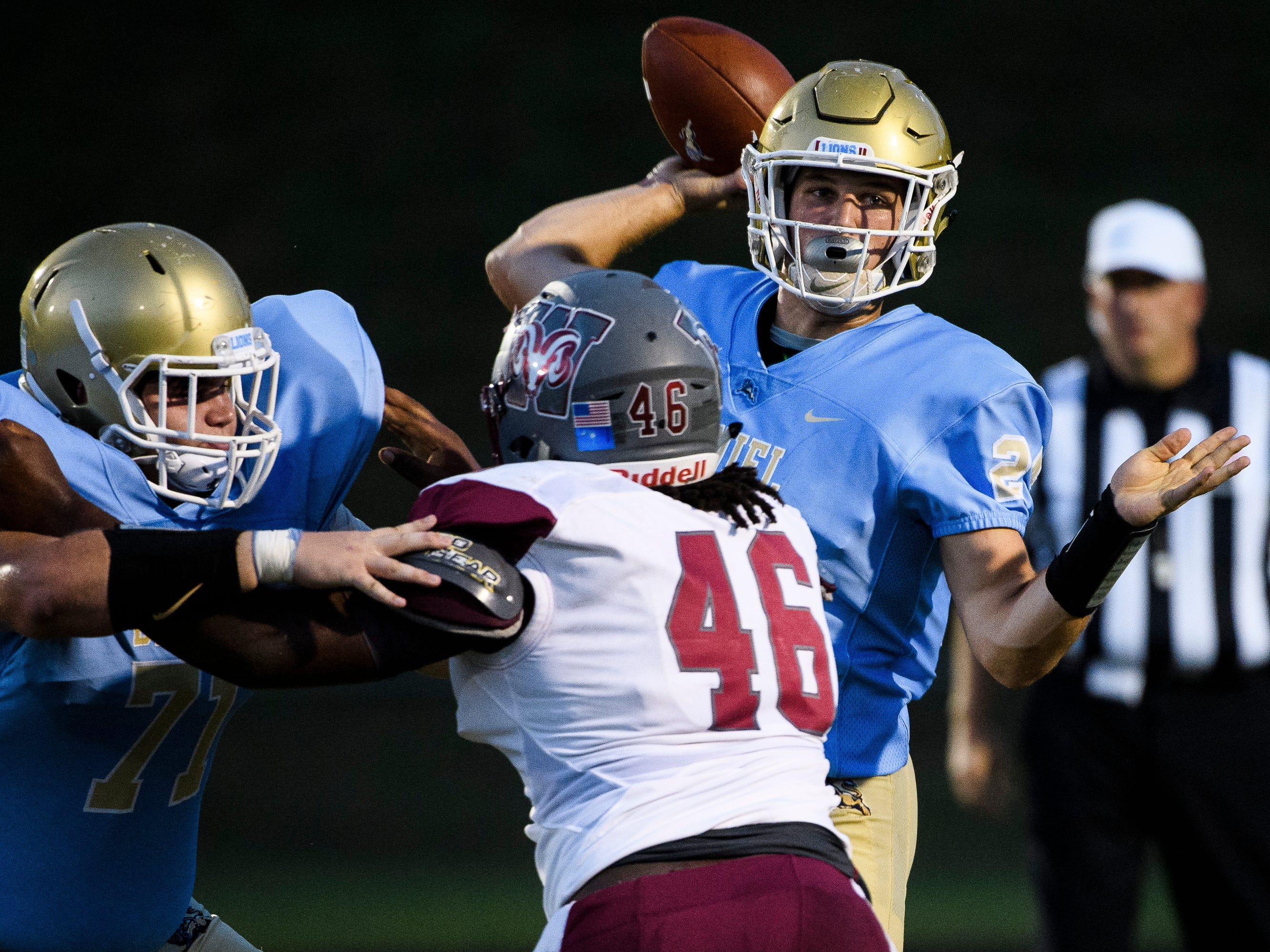 Daniel quarterback Tyler Venables (24) throws the ball during their game against Westside on Friday, Sept. 7, 2018.