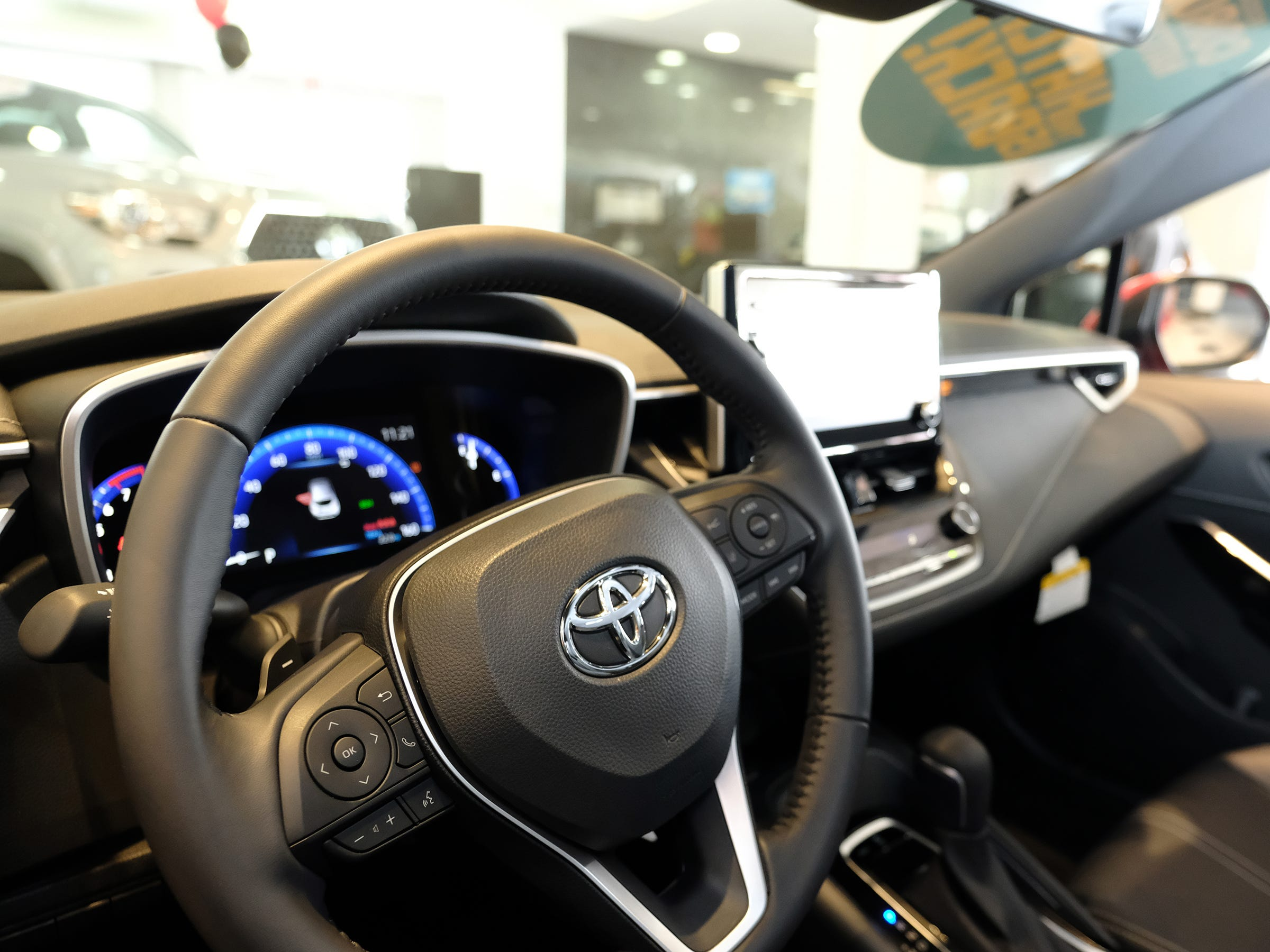 The steering wheel of the 2019 Toyota Corolla in the Atkins Kroll Toyota showroom Sept. 8, 2018.