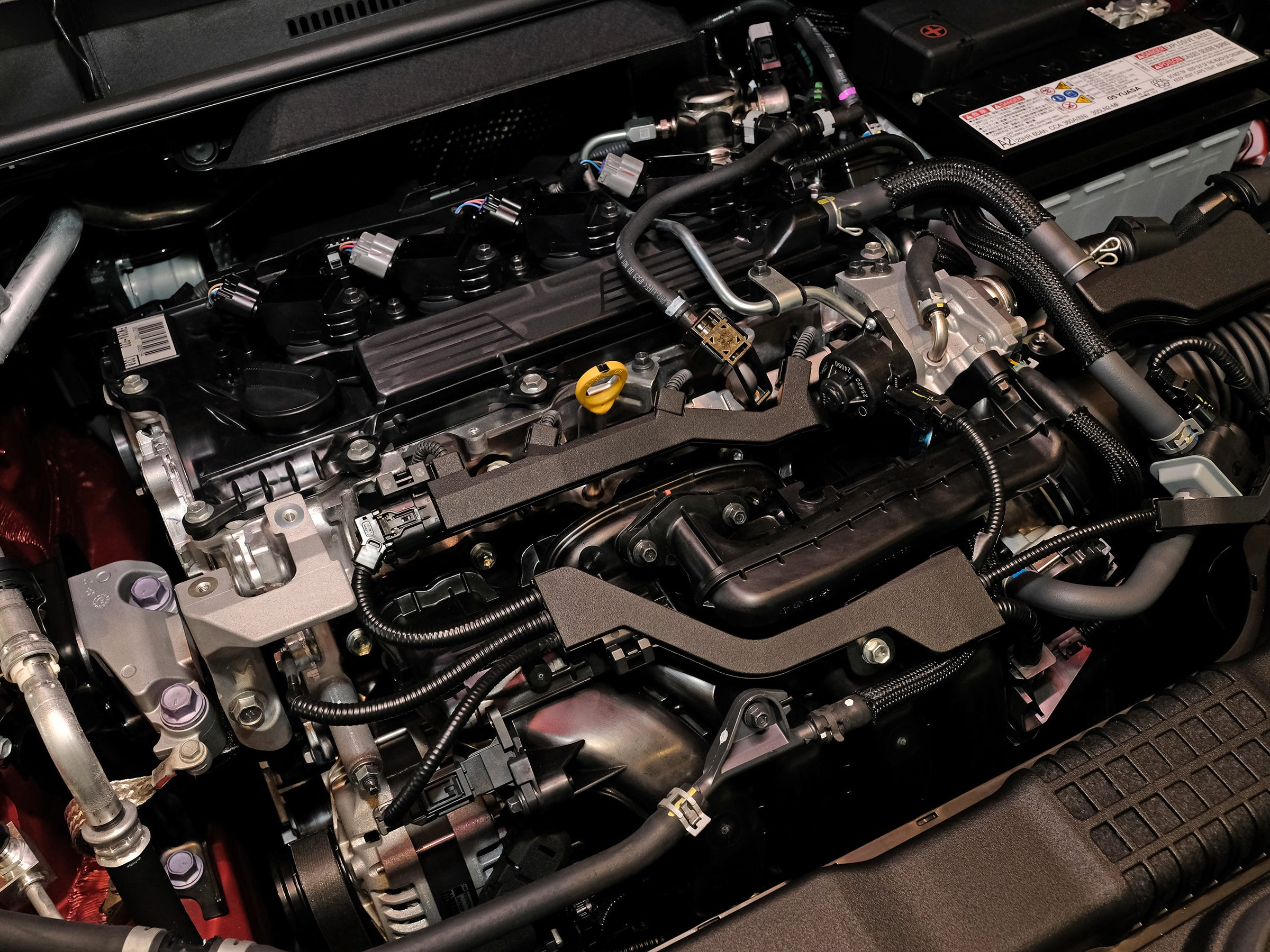 The engine compartment of the 2019 Toyota Corolla in the Atkins Kroll Toyota showroom Sept. 8, 2018.